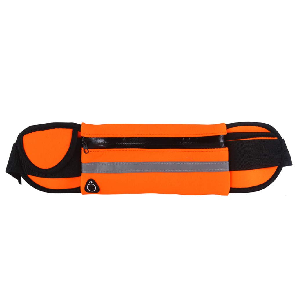 Pulison Running Pouch Belt Waterproof Sport Runner Waist Bum Bag Running Jogging Belt Pouch Zip Fanny Pack Length 70 cm to 115 cm for Men and Women (Orange)