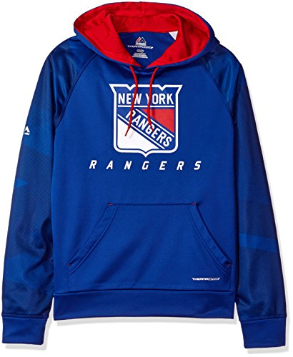 NHL New York Rangers Men's Penalty Shot Long Sleeve Fleece Hoodie, Medium, Deep Royal/Red