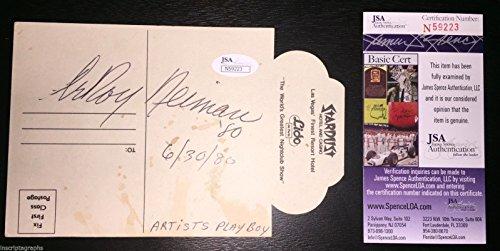 LEROY NEIMAN SIGNED POSTCARD JSA COA STARDUST HOTEL VEGAS 6/30/80 ARTIST from Inscriptagraphs