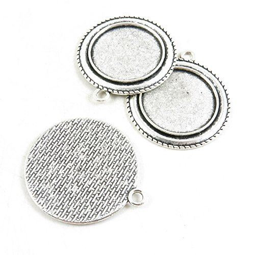 120 Pieces Jewelry Making Charms Antique Silver Tone for Necklace Pendant Bracelet L2TD4 Round Cabochon Setting 25mm