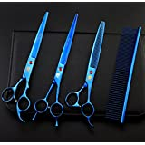 8 Inch Professional Blue 440C Steel Material Pet Grooming Hair Scissors Dog Grooming Shear with Bag