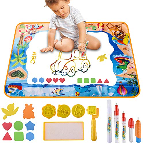 2a98846834 Water Doodle Drawing Mat Ninonly Magic Large Aqua Drawing Mat Toddlers  Painting Board Neon Colors for
