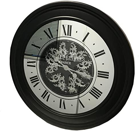 Sassy Home Large Black Metal Frame Mirrored Face Champs Elysees Moving Mechanical Gear Motion Wall Clock One Colour 80 X 80 X 8cm Amazon Co Uk Kitchen Home