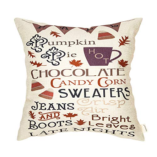 Fahrendom Rustic Fall Sign Pumpkin Hot Chocolate Candy Corn Sweaters Vintage County Style Thanksgiving Day Gift Cotton Linen Home Decorative Throw Pillow Case Cushion Cover with Words for Sofa Couch 1