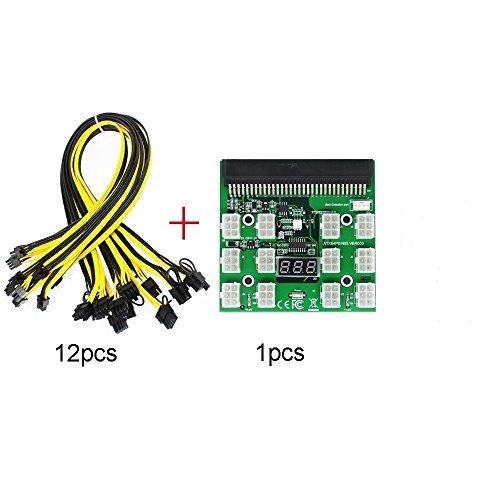 Tekit Ethereum Mining ETH ZEC LTC 1200W/750W Server PSU Power Supply Unit to GPU Breakout Board Adapter + 12pcs 6-Pin PCIe to (6+2Pin) PCIe Graphics Card Power Cables (GPU Breakout Board+12PCS cable) by tekit