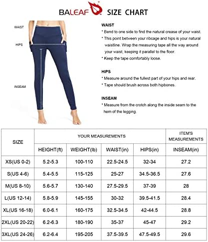 BALEAF Women's Fleece Lined Winter Leggings High Waisted Thermal Warm Yoga Pants with Pockets