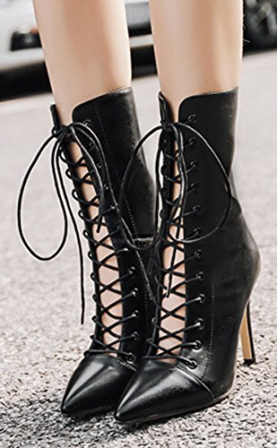 Easemax Women's Trendy High Stiletto Heel Pointed Toe Zip Up Mid Calf Boots Black y2uof