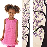 Growth Chart Art | Wooden Growth Chart for Kids [Girls] – Flower Growth Chart for Girls - Durable, Portable, Beautiful Measurement Height Chart Kids (Purple Flower)