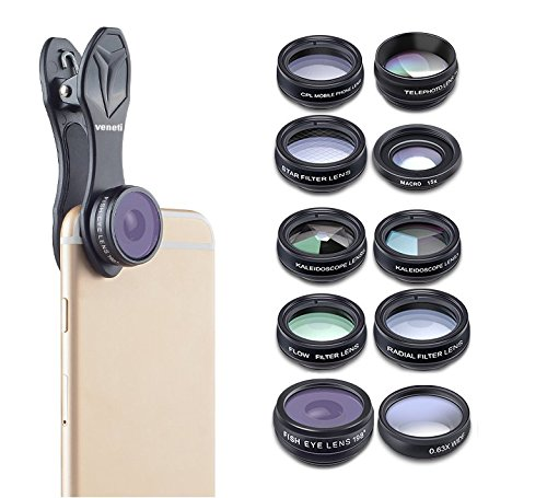 VENETI Creative Pro - Cell Phone Camera Lens Kit 10 Piece for iPhone, Samsung Galaxy, and Android by VENETI