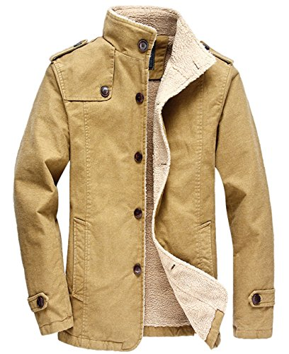 chouyatou Men's Military Button Front Sherpa Lined Heavyweight Trucker Jacket (Large, Khaki)