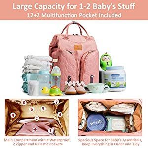 Anrapely 3 in 1 Baby Diaper Bag Backpack with Bed, Multifunction Travel Bassinet, Nappy Bag Changing Station, Large…
