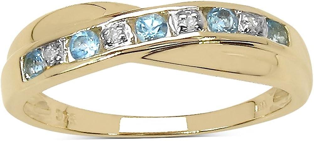 La Colección Anillo de Diamante: Anillo Oro 9ct de Topacio azul y set Diamantes, anillo de la eternidad de canal, Perfecto para Regalo, Aniversario Tallas 8,9,10,11,12,13,15,16,17,19,20,21,22,24
