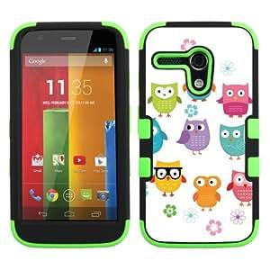 One Tough Shield ? 3-Layer Hybrid Phone Case (Black/Green) for Motorola MOTO G - (Happy Owl)