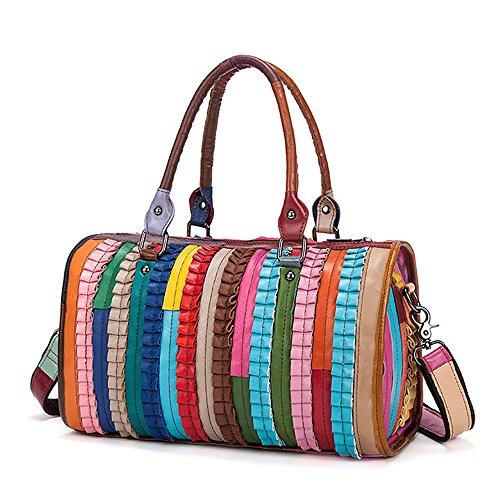 Gendi Donna Braccialetti di colore che cuce in pelle borsa Designer Satchel Top-Handle Borsa a tracolla