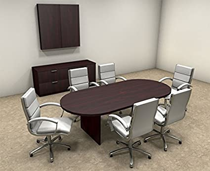 Amazoncom Modern Racetrack Feet Conference Table OTSULC - 8 foot conference table and chairs