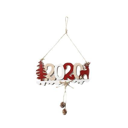 Happyyami Navidad cartel colgante de madera 2020 puerta ...