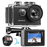 AKASO Brave 6 4K 20MP WiFi Action Camera Voice Control EIS 100 feet Underwater Waterproof Camera Remote Control 6X Zoom Underwater Camcorder with 2 Batteries and Helmet Accessories Kit