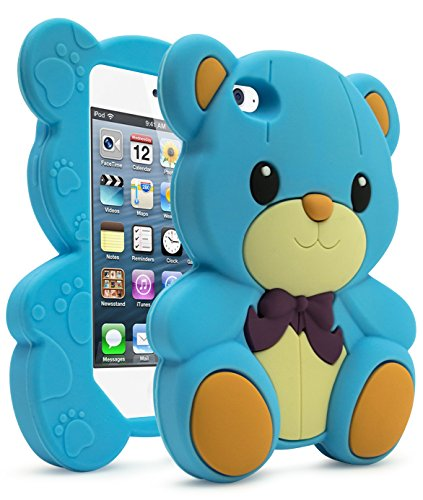 iPod Touch 4 Case, Bastex Baby Powder Blue 3D Rubberized Cute Teddy Bear Soft Flexible Silicone Protective Cover with Purple Bow Tie for iPod Touch 4, 4G, 4th Generation -