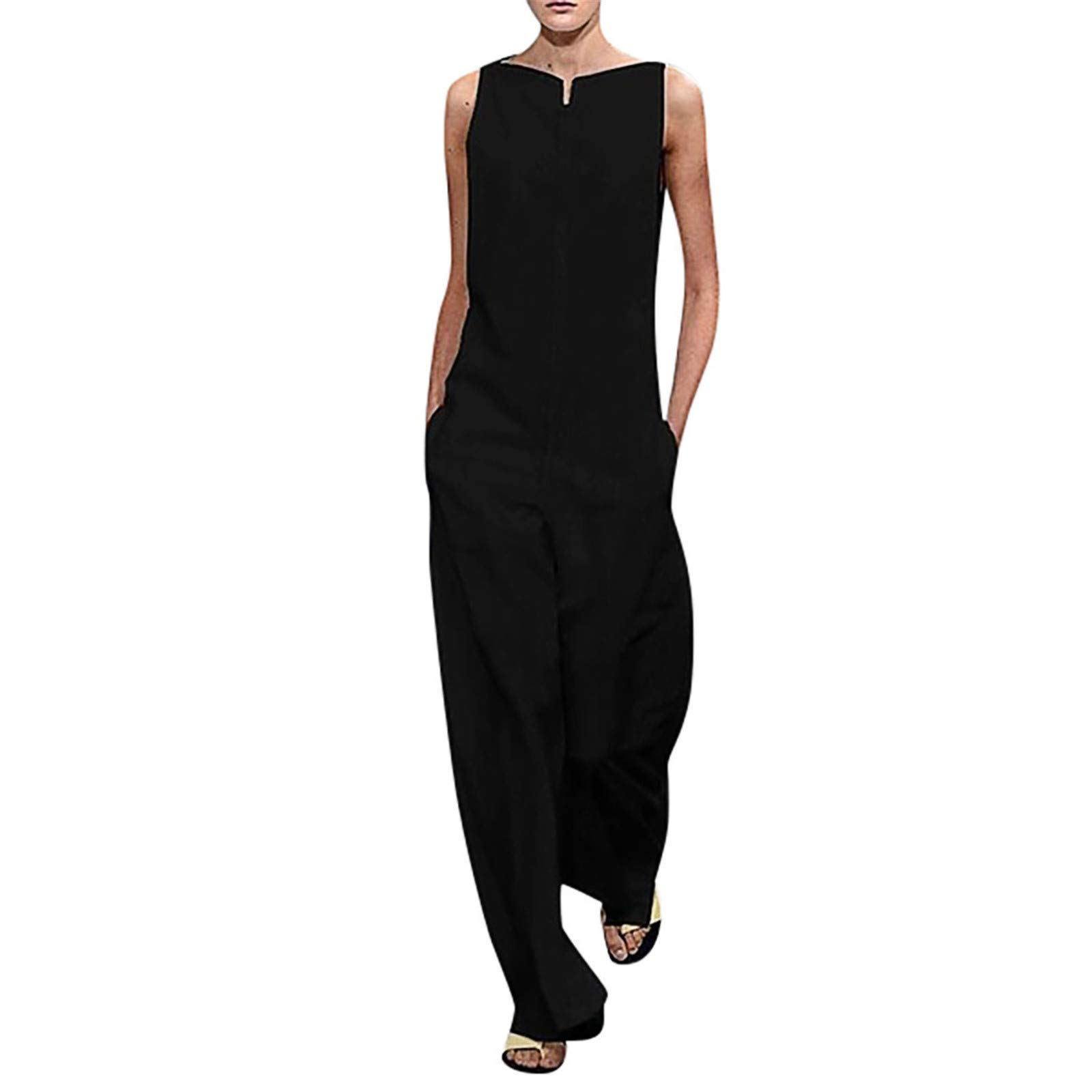 Thenxin Ladies Fashion Cotton Loose Jumpsuits Solid Color Sleeveless Long Pockets Playsuit Rompers(Black,M)
