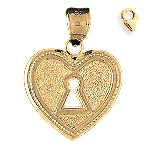 Jewels Obsession Heart Padlock | 14K Yellow Gold Heart Padlock, Lock Charm Pendant - 25mm
