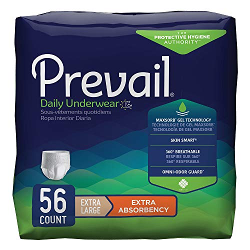 Prevail Extra Absorbency Incontinence Underwear Extra Large 56 Total Count Breathable Rapid Absorption Discreet Comfort Fit Adult ()