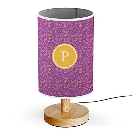[ INITIAL LETTER P ] Monogram Name USB POWERED Wood Base Desk Table Bedside Lamp [ Halloween Candy -