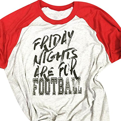 Women's Friday Nights Are For Football 3/4 Sleeve Raglan Baseball T-Shirt Blouse size XL (Red)