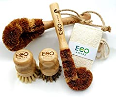 Eco-Aware Natural Bamboo Dish Scrub 4 Piece Brush Set