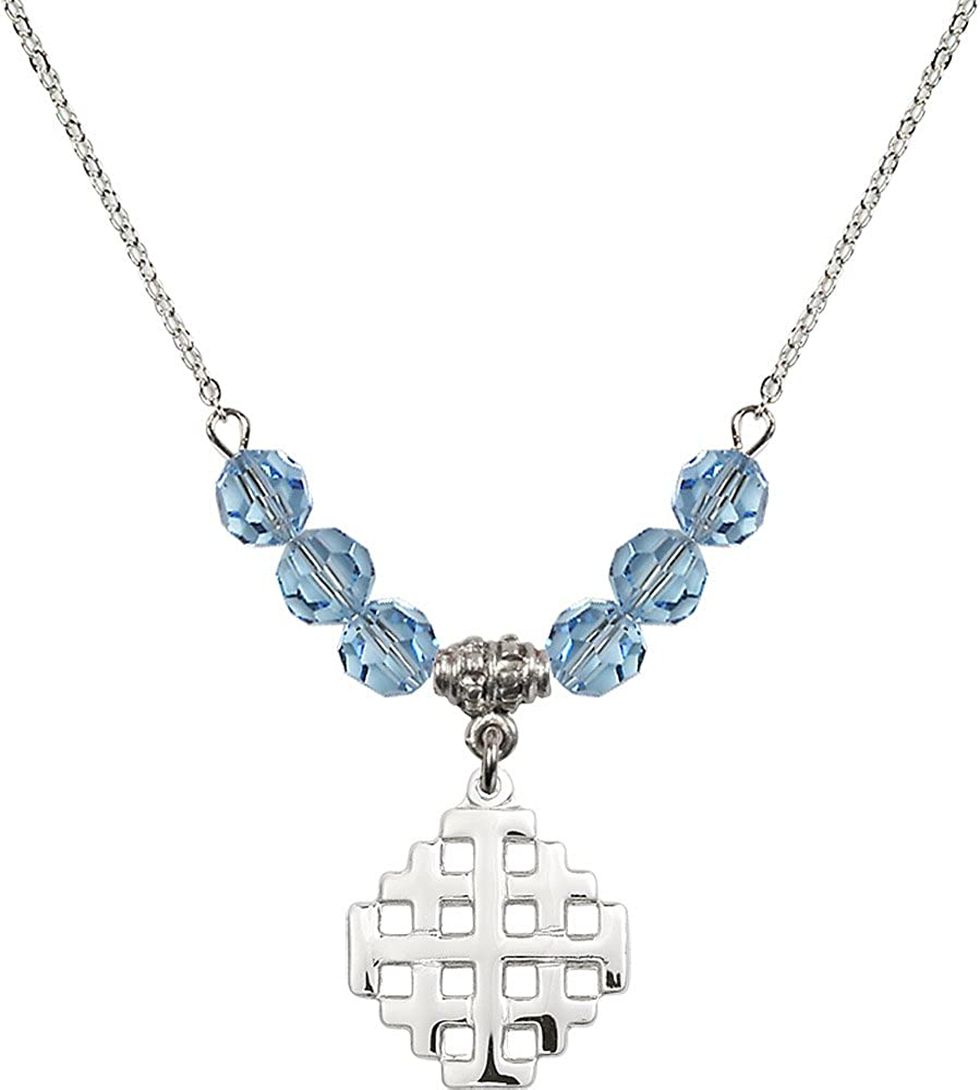 18-Inch Rhodium Plated Necklace with 6mm Aqua Birthstone Beads and Sterling Silver Jerusalem Cross Charm.