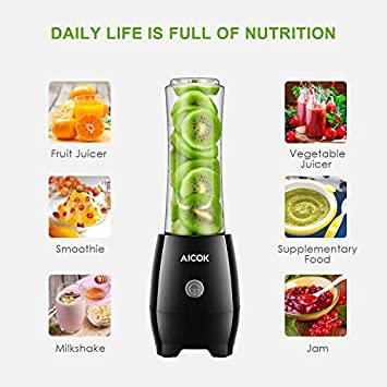 Personal Blender Aicok Smoothie Blender with 2 Tritan Travel Bottles, Blender Stainless Steel 4-Blade for Juice, Shakes and Baby Food, 300W