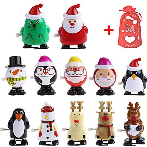 PTFNY 12 Pack Christmas Wind-up Toys Party Favors for Kids Christmas Clockwork Toys with a Gift Bag (Themed Christmas Crackers)