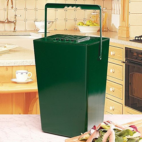 Green Portable Indoor/Outdoor Garden Compost Bin - Holds 9.5 Quarts