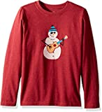 Life is Good Boy's B Long Sleeve Boys Tee Jamming' Snowman Htcrrd T-Shirt, Heather Cranberry Red, Medium