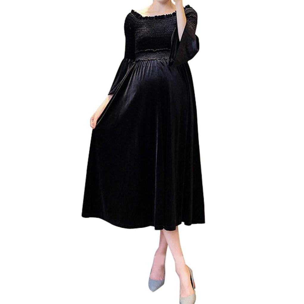 TiTCool Maternity Dress Pregnancy New Mama Clothes Velvet Boat Neck Flare Sleeve Fashion (L, Black)