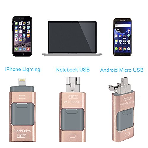 USB Flash Drives for iPhone 32 GB 3.0 Pen-Drive Memory Storage 3 in 1, HMfire Otg Jump Drive Lightning Memory Stick External Storage, USB 3.0 Flash Drives for Apple IOS Android Computers (Rose Gold)