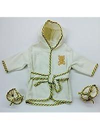 Rene' Rofe' Baby Boy 100% Cotton Hooded Bathrobe w/ Booties Biege (0-9m) by Rene' Rofe'