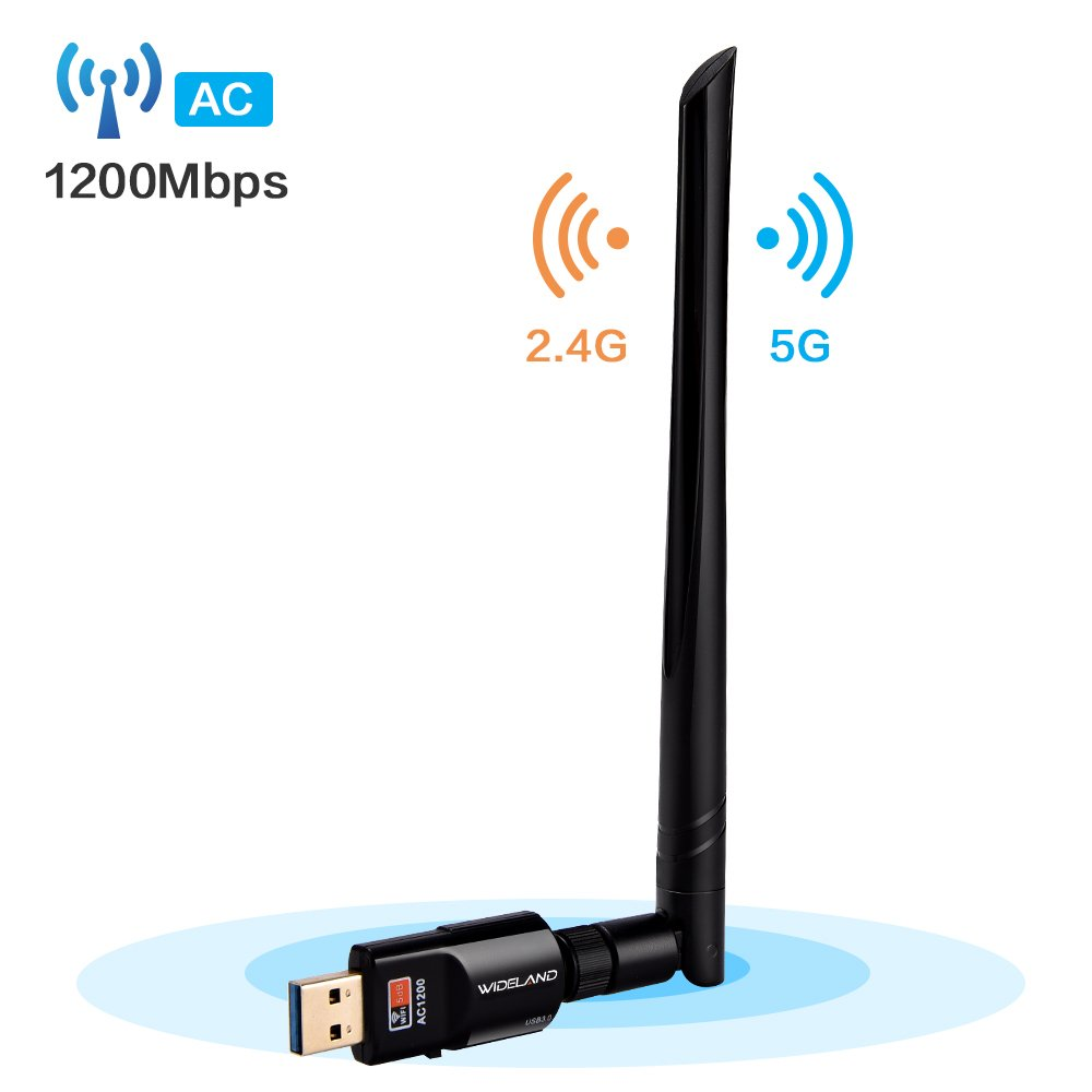 USB Wifi Adapter 1200Mbps, USB 3.0 Dual Band 2.4G/5G Wireless Network Card with 5dBi Antenna Wifi Dongle for PC/Desktop/Laptop/Table Windows 10/8/8.1/7/Vista/XP/2000, Mac OS 10.4-10.13