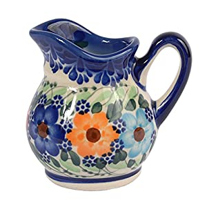 Traditional Polish Pottery, Handcrafted Ceramic Cream or Milk Jug 100ml, Boleslawiec Style Pattern, J.201.Garland