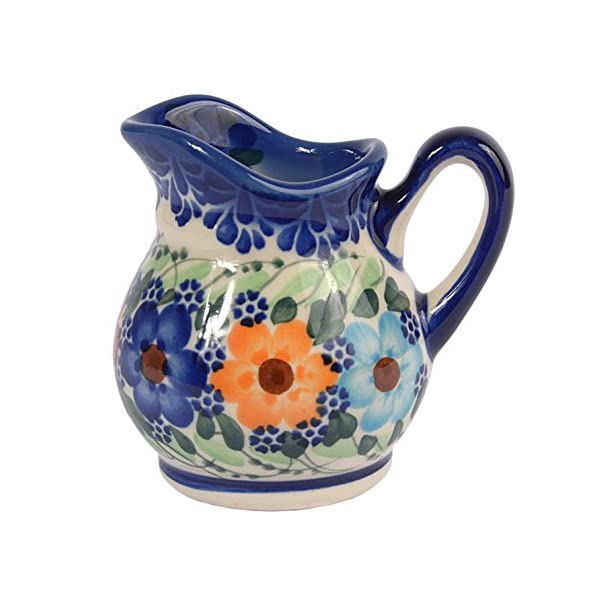 Traditional Polish Pottery, Handcrafted Ceramic Cream or Milk Jug 100ml, Boleslawiec Style Pattern, J.201.Garland