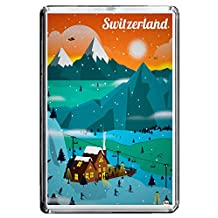 B256 SWITZERLAND FRIDGE MAGNET SWITZERLAND VINTAGE TRAVEL PHOTO REFRIGERATOR MAGNET