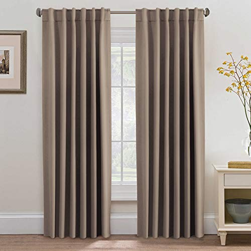 H.VERSAILTEX Blackout Thermal Insulated Curtains/Drapes, Back Tab/Rod Pocket Energy Efficient Bedroom Curtains, Warm Taupe, Sold per Pair, 52Wx84L Inch