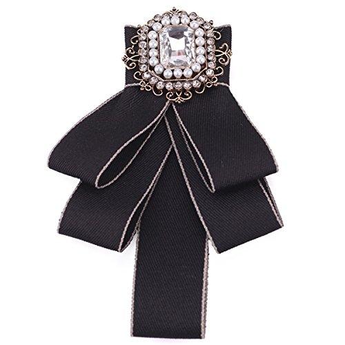 ZOONAI Women Girls Rhinestone Brooch Pin Wedding Party Bow Tie Pre Tied Neck Tie