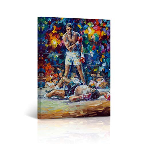Muhammad Ali vs Sonny Liston CANVAS PRINT The Greatest Colorful Oil Painting First Minute First Round Knockout Wall Art home Décor Stretched - Framed Ready to Hang - %100 Handmade in the USA 22x15