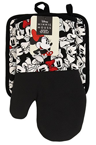Disney Puppet Oven Mitt & Potholder w/Neoprene Easy Gripping, Heat Resistant up to 500 Degrees F, Minnie Mouse Face, Gray
