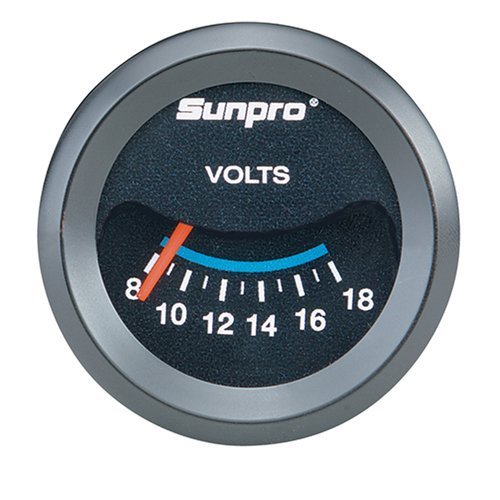 Sunpro CP7985 CustomLine Electrical Voltmeter - Black Dial by Sunpro