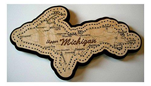 - Upper Michigan Shaped Road Map Cribbage Board