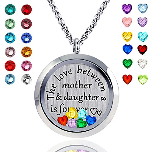 Floating Living Memory CZ Locket Pendant Necklace Mom and Daughter Necklace 24 Birthstone Charms Include (Polished birthstone locket)