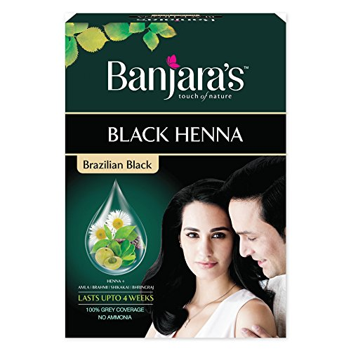 (Banjara's Black Henna Brazilian Black 54 gm Rich black hair colour - No ammonia)