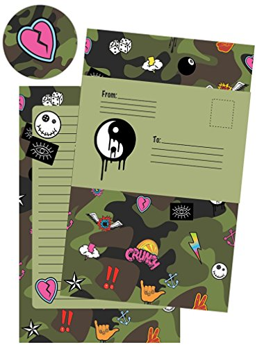 iscream 'Crazy Camo' Pack of 8 Fold-over Cards with Flip Sticker Seals