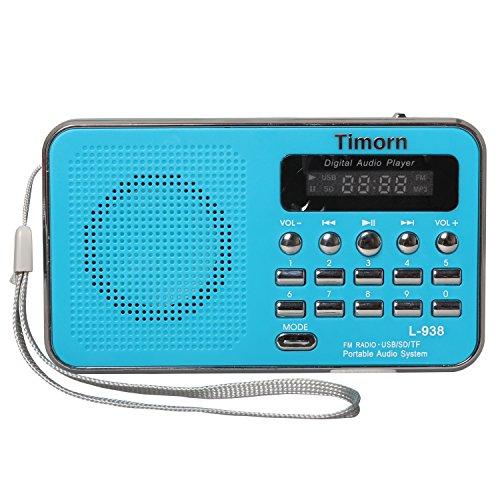 Timorn Radio Mini tragbare Musik-Player unterstützt TF Card / USB / SD / MP3-Format / FM-Radio-Funktion (L938) (Blau)